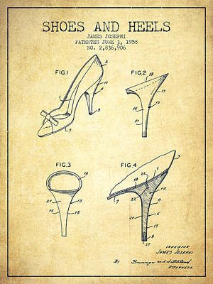 Old Boot Digital Art - Shoes And Heels Patent From 1958 - Vintage by Aged Pixel