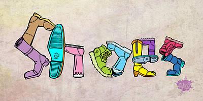 Shoes Print by Anthony Mwangi