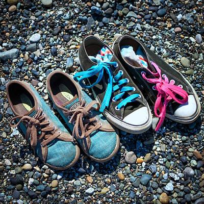 Shoes On Beach Print by Geoffrey Baker