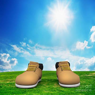 Shoe Photograph - Shoes On Green Field by Michal Bednarek