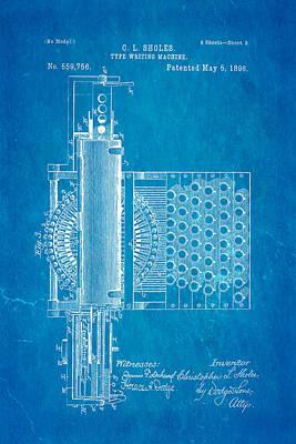 Typewriter Photograph - Sholes Type Writing Machine Patent Art 2 1896 Blueprint by Ian Monk