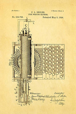Typewriter Photograph - Sholes Type Writing Machine Patent Art 2 1896 by Ian Monk