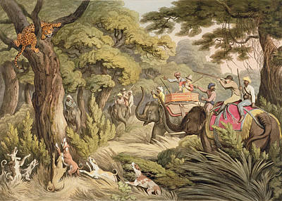 Greyhound Painting - Shooting A Leopard, From Oriental Field by Samuel Howett