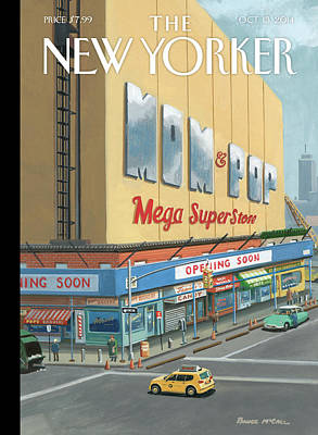 Walmart Painting - Shoppers Enjoy A Mom And Pop Mega Superstore by Bruce McCall