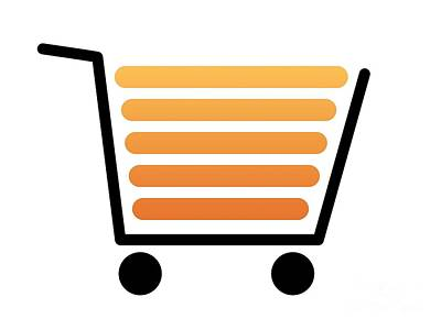 Shoping Digital Art - Shopping Cart Black by Henrik Lehnerer