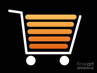 Shoping Digital Art - Shopping Cart White by Henrik Lehnerer