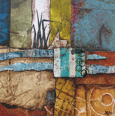 Abstract Collage Mixed Media - Shoreline II by Laura  Lein-Svencner