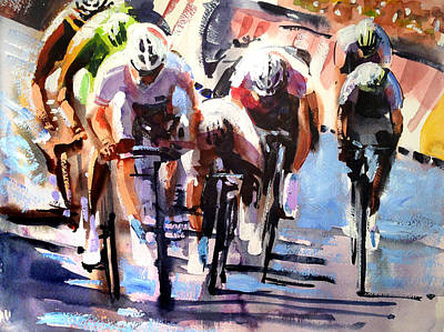 Bicycling Painting - Short Sharp Sprint by Shirley  Peters