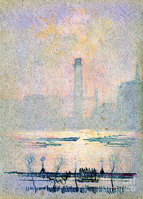 Crayons Tree Photograph - Shot Tower From Embankment 1880 by Padre Art