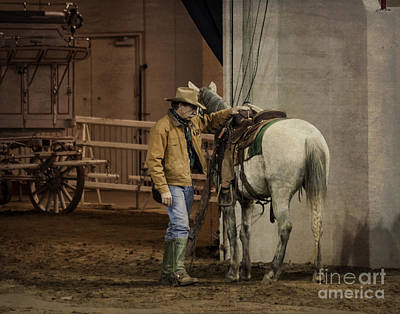 Show Cowboy And His Wild Mustang Print by Janice Rae Pariza