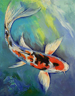 Butterfly Koi Painting - Showa Butterfly Koi by Michael Creese