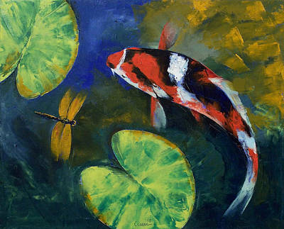 Showa Koi And Dragonfly Print by Michael Creese
