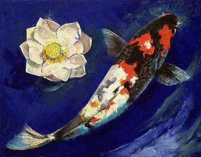 Showa Koi And Lotus Flower Print by Michael Creese