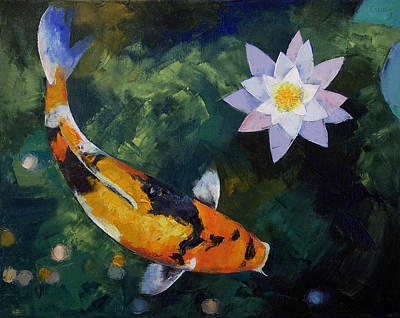 Showa Koi And Water Lily Print by Michael Creese
