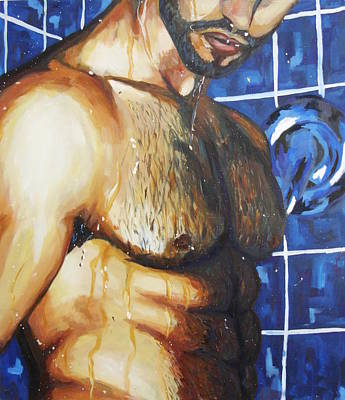 Bodybuilding Painting - Shower by Nimrod Stark
