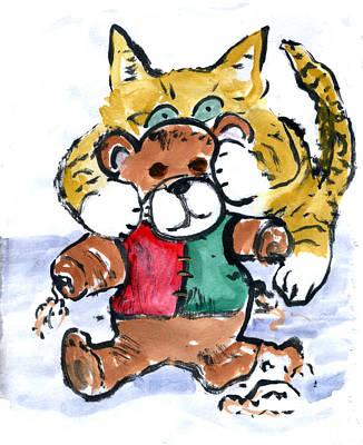Shredding Teddy Bear Print by Ellen Miffitt