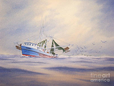 Shrimp Boat On The Gulf Print by Bill Holkham