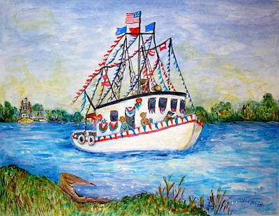 Streamer Painting - Shrimp Boat Coming by Joan Landry