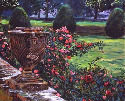 Pink Painting - Shrub Roses In Somerset by David Lloyd Glover
