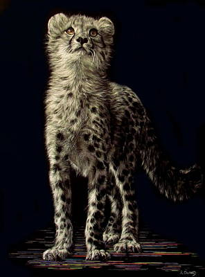 Scratchboard Painting - Shuren - Baby Cheetah by Lesley Barrett