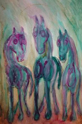 Seem Painting - Green Horses Are Shy But Curious  by Hilde Widerberg
