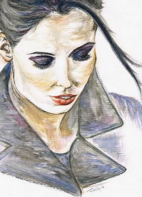 Blueish Mixed Media - Shy Lady by Teresa White