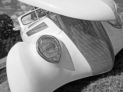 Shy Stunner - 1937 Ford In Black And White Print by Gill Billington