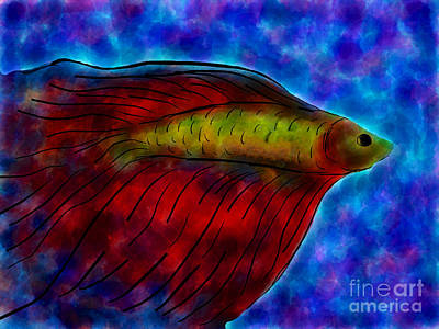 Siamese Fighting Fish II Print by Anita Lewis