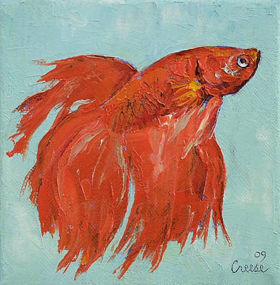 Tropical Fish Painting - Siamese Fighting Fish by Michael Creese