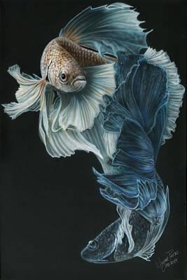 Laos Painting - Siamese Fighting Fish Three by Wayne Pruse