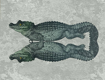 Crocodile Painting - Siamese Twins Blue And Green Crocodiles On Sage Green Stone by Elaine Plesser