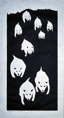 Siberian Husky Drawing - Siberian Huskies - 1979 by Rick Hurst