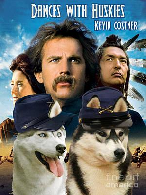 Siberian Husky Art Canvas Print - Dances With Wolves Movie Poster Print by Sandra Sij