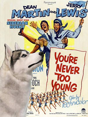 Siberian Husky Art Canvas Print - You Never Too Young Movie Poster Print by Sandra Sij