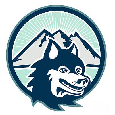 Siberian Husky Dog Head Mountain Retro Print by Aloysius Patrimonio
