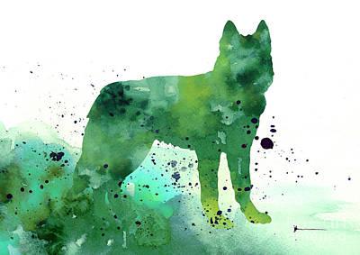 Siberian Husky Dog Silhouette Watercolor Art Print Painting Print by Joanna Szmerdt