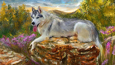 Book Cover Painting - Siberian Leisure - Siberian Husky Painting by Lourry Legarde