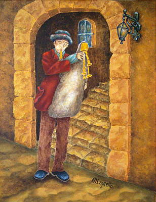 Gold Tone Painting - Sicilian Ciaramella by Pamela Allegretto