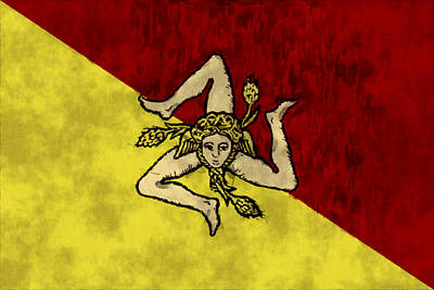 Sicily Flag Print by World Art Prints And Designs