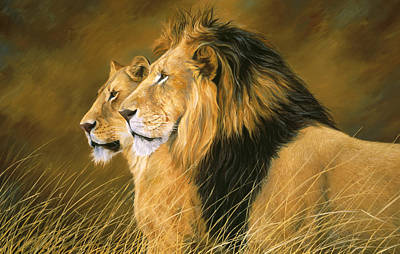 Lions Painting - Side By Side by Lucie Bilodeau
