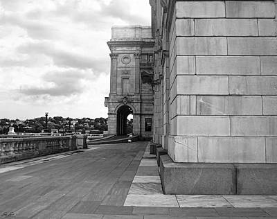 Cityhall Photograph - Side Entrance Bw by Lourry Legarde