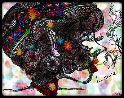 Side Face Lady Print by Akiko Kobayashi