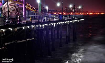 Side Of The Pier - Santa Monica Print by Gandz Photography