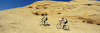 Bicycle Photograph - Side Profile Of Two Men Mountain by Panoramic Images