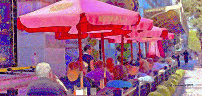 Print featuring the photograph Sidewalk Cafe Digital Painting by A Gurmankin