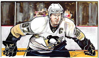 Penguin Drawing - Sidney Crosby by Dave Olsen