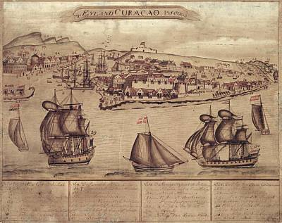 Siege Of Curacao Print by Library Of Congress, Geography And Map Division