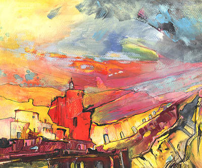 Abstract Landscape Drawing - Sierra Sunset by Miki De Goodaboom