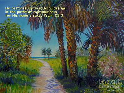 With Scripture Painting - Siesta Key Path With Scripture by Lou Ann Bagnall
