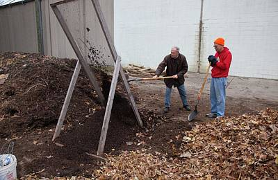 Sifting Compost Through A Screen Print by Jim West